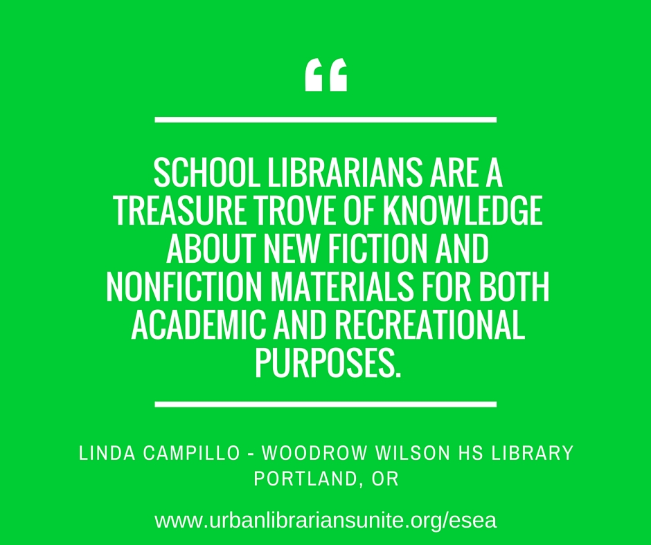 school librarians are a treasure trove of knowledge about new fiction and non fiction materials for both academic and recreational purposes