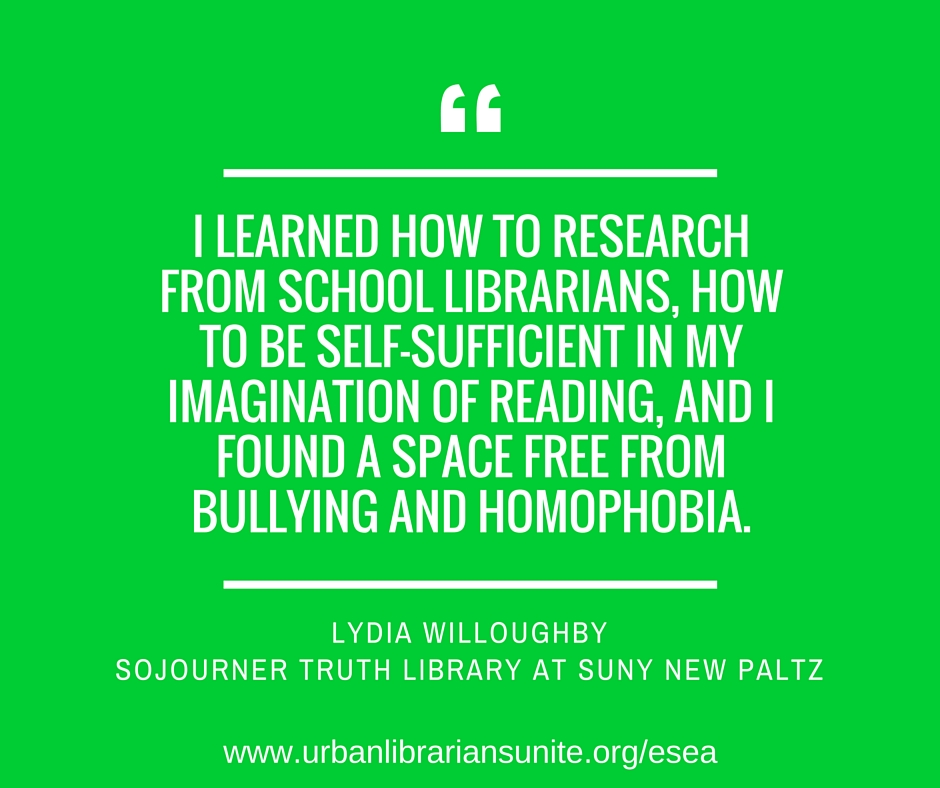 I learned how to research from school librarians, how to be self-sufficient in my imagination of reading, and I found a space free from bullying and homophobia.