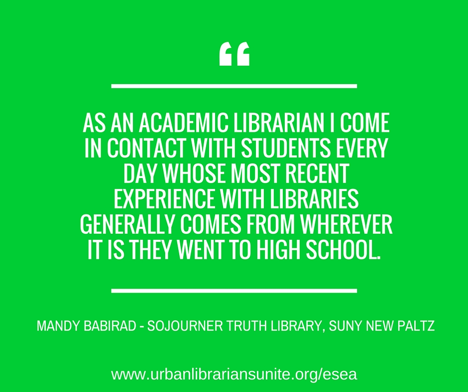 As an academic librarian I come in contact with students every day whose most recent experience with libraries generally comes from wherever it is they went to high school.