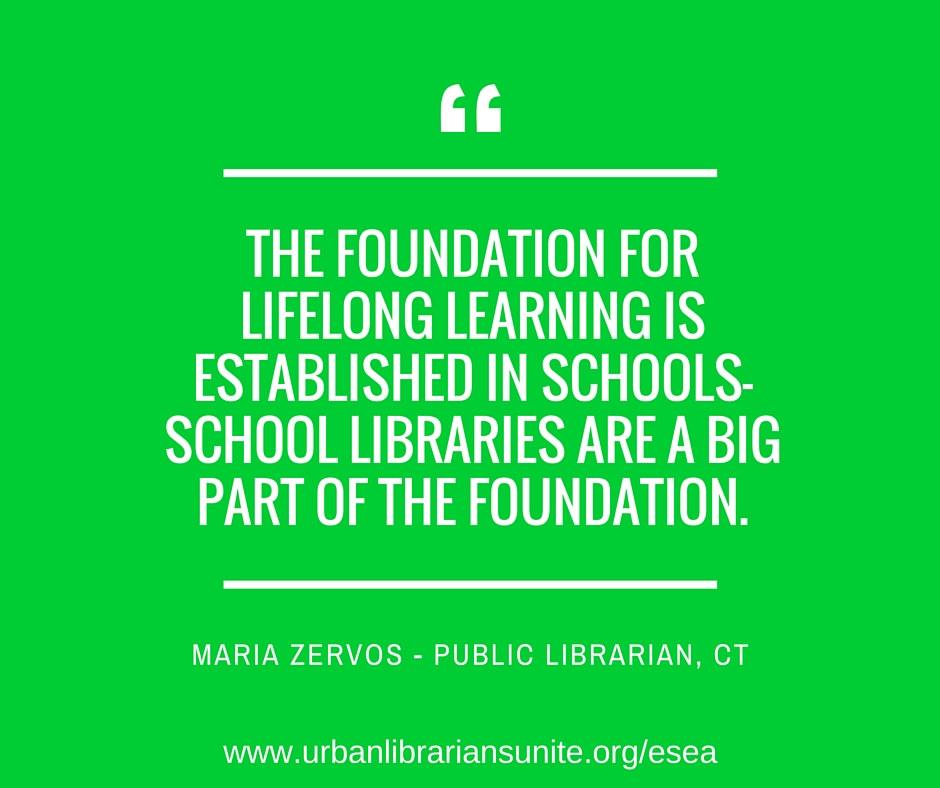 The foundation for lifelong learning is established in schools- school libraries are a big part of the foundation.