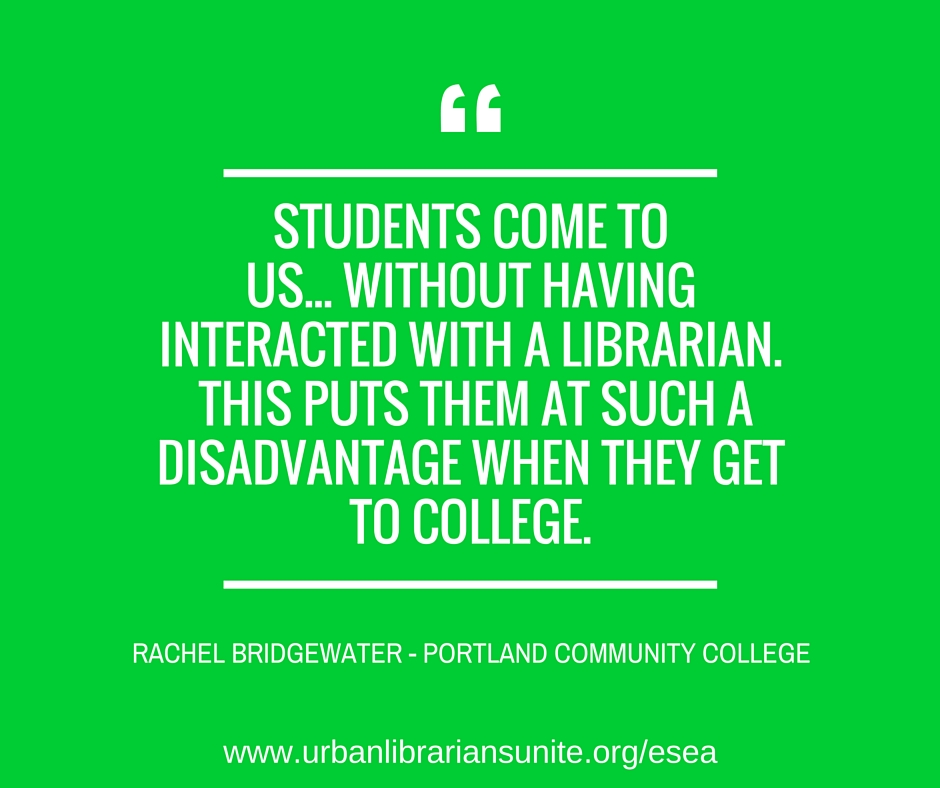 students come to us...without having interacted with a librarian. this puts them at such a disadvantage when they get to college