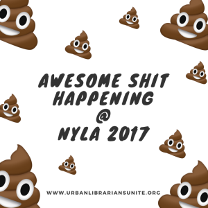 text - awesome shit happening at NYLA 2017 surrounded by floating smiling poop emoji