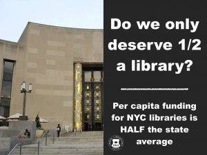 "photo of teh front facade of the BPL central library, with the words ""do we only deserve half a library, per capita funding for NYC libraries is HALF the state Average"""
