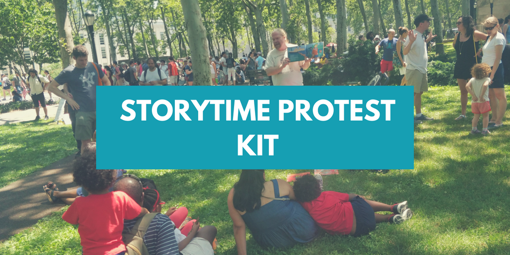 photo of a storytime in the park with the text storytime protest kit over the photo